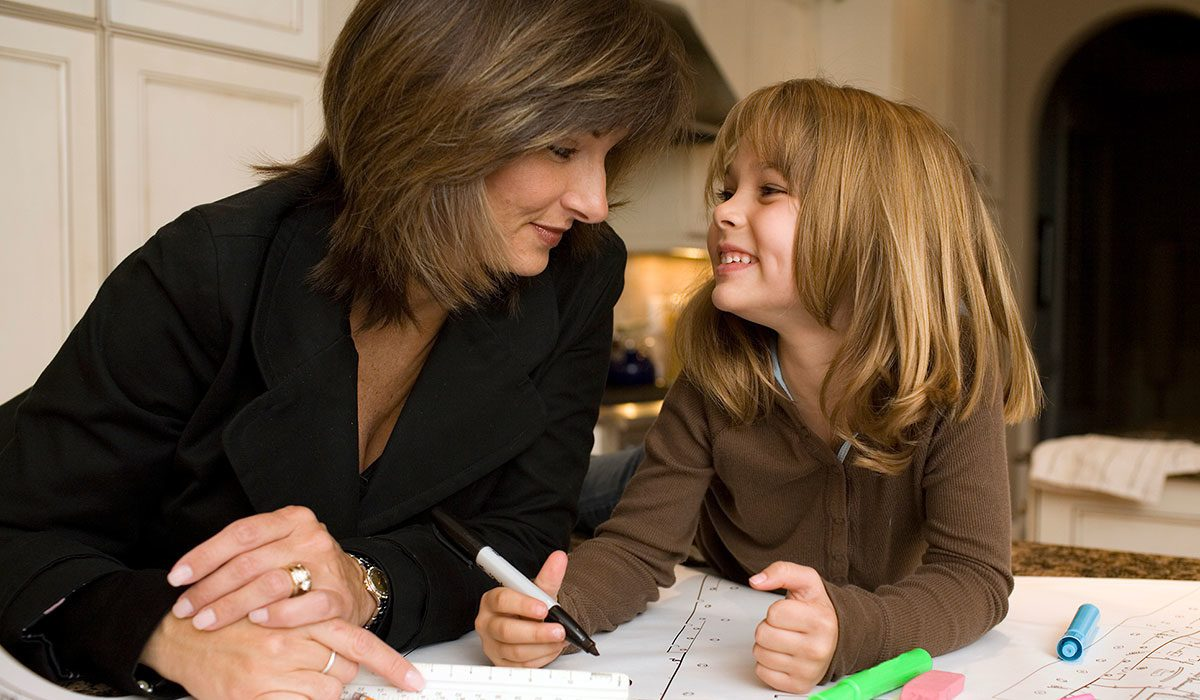 mother and child coloring together
