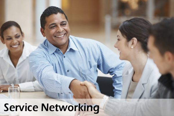 Service networking: a group of professionals helping each other.