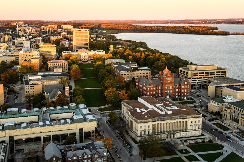 Lake Mendota and the University of Wisconsin-Madison campus, including Bascom Hill and Bascom Hall, are pictured in an early morning aerial
