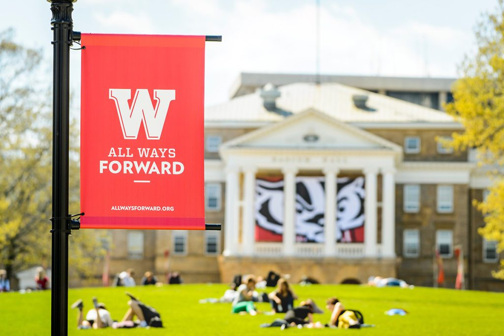 UW-Madison Bascom Hall and All Ways Forward Flag