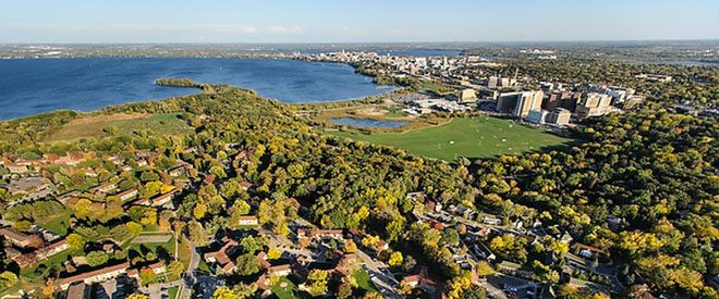 Aerial view of Madison's Lake Mendota and Picnic Point