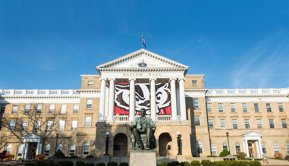 Bascom Hall with a Bucky flag