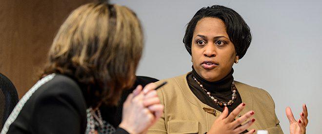 Two online education administrators having a conversation
