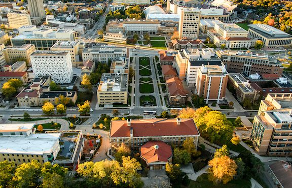 Aerial of UW-Madison campus, including Engineering Hall